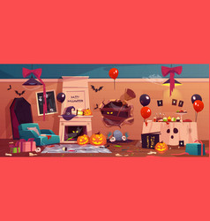 After party mess in halloween decorated room vector