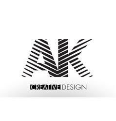 Ak a k lines letter design with creative elegant vector