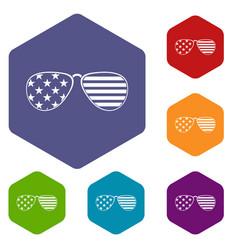 American glasses icons set hexagon vector