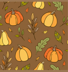 autumn seamless pattern with pumpkins vector image