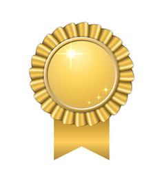 Award ribbon gold icon golden medal design vector