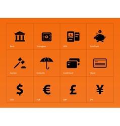 Banking icons on orange background vector
