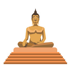 Big gold buddha statue with stairs isolated vector