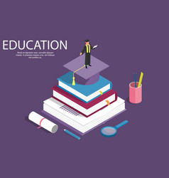 books step education isometric concept vector image