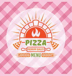 brick oven with flame and pizza slices vector image