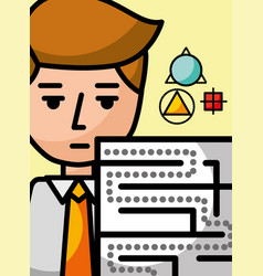 Businessman cartoon creativity labyrinth science vector