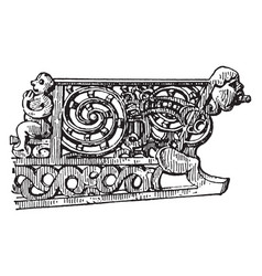 Canoe detail of wood carving on cano vintage vector