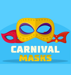 carnival mask logo flat style vector image