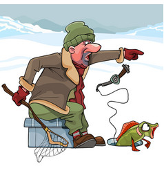 cartoon cunning fisherman catches fish in winter vector image