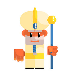 Cartoon dwarf in the turban with staff in his vector