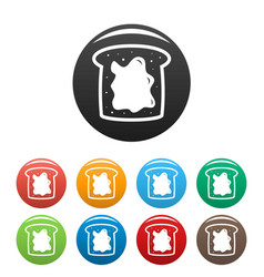 Choco butter bread icons set color vector
