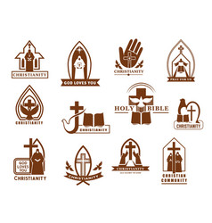 christianity icons cross bible and dove vector image