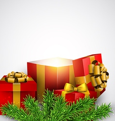 Christmas background with red gift boxes vector image