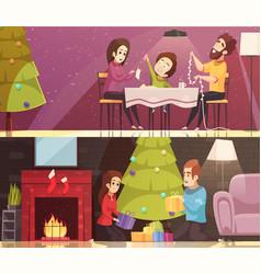 christmas cartoon banners set vector image