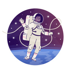 Cosmonaut floating in outer space flat concept vector