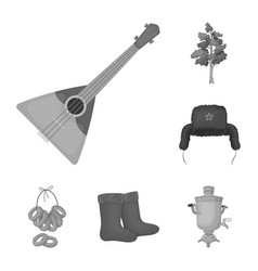 Country russia travel monochrome icons in set vector