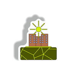 Cracked earth and buildings drought in city vector
