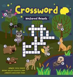 Crossword puzzle nocturnal animals vector