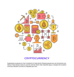 cryptocurrency round concept poster with place vector image