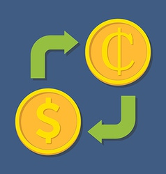 Currency exchange Dollar and Cedi vector image