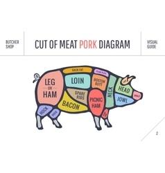 cut meat set poster butcher diagram scheme vector image