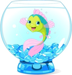 Cute Cartoon Fish in Aquarium vector