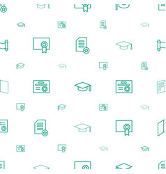 Diploma icons pattern seamless white background vector