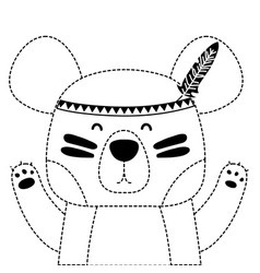 Dotted shape cute bear animal with feathers vector