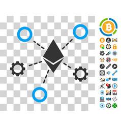ethereum network nodes icon with bonus vector image vector image