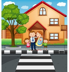 Family members standing in front of the house vector