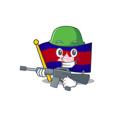 Flag cambodia cartoon with in army character vector