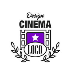 Flat cinema or movie logo template design with vector