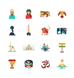 Flat design India travel icons infographics vector image