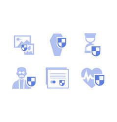 flat set insurance icons health life vector image