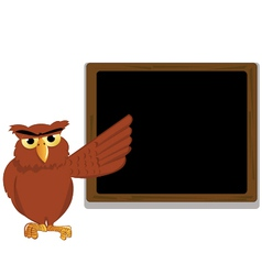 funny owl pointing a blackboard vector image