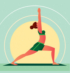 Girl in yoga warrior pose or virabhadrasana vector