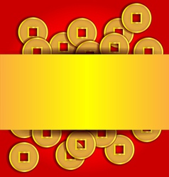 Gold coins abstract background for Chinese New vector image