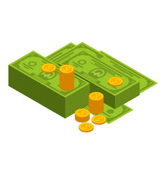 green dollar and coins icon isometric style vector image