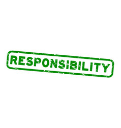 Grunge green responsibility square rubber seal vector