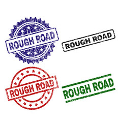 Grunge textured rough road seal stamps vector