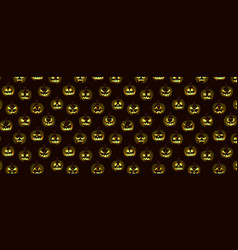 halloween pattern pumpkin emotion faces vector image
