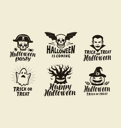 Halloween set of labels holiday symbol vector