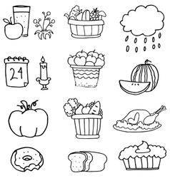 Hand draw element thanksgiving on doodles vector