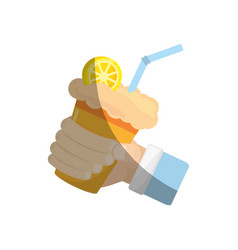Hand holding milk shake orange juice straw vector