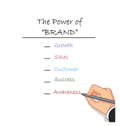 Hand writing the power of brand vector