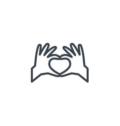 hands making heart icon line design vector image