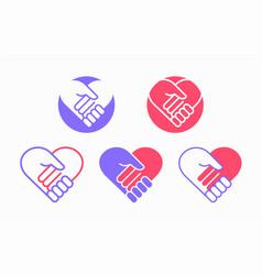 handshake in heart icon vector image