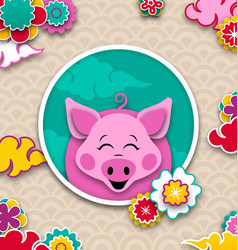 happy chinese new year 2019 card with pink pig vector image