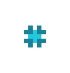 hashtag symbol cross plus medical logo icon vector image