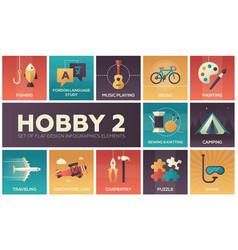 hob- set flat design infographics elements vector image